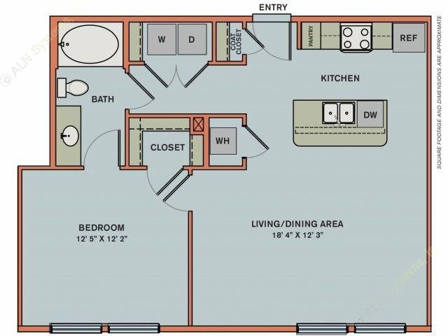 773 sq. ft. 2A1 floor plan