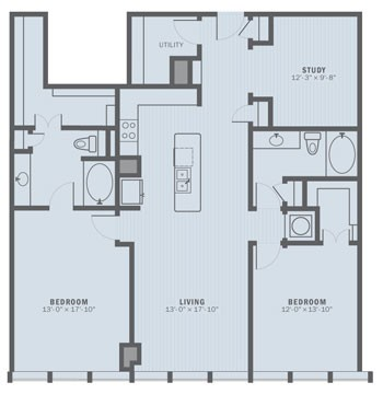 1,537 sq. ft. B2C floor plan