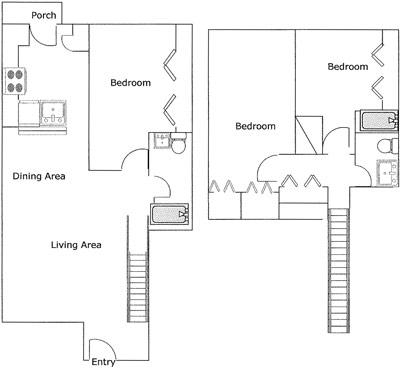 1,232 sq. ft. Azteca/60% floor plan
