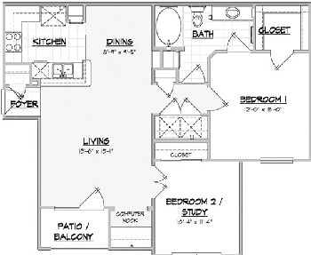 938 sq. ft. SILVERADO floor plan