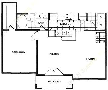 721 sq. ft. A2A/BARRINGTON floor plan