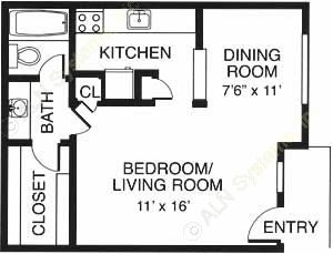 475 sq. ft. EFF floor plan