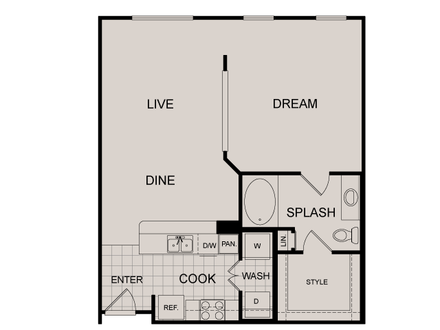 775 sq. ft. Windsor floor plan