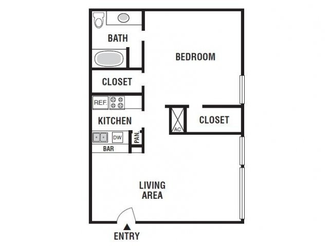 693 sq. ft. 11D floor plan