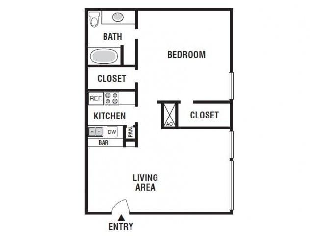 693 sq. ft. 11D/60% floor plan