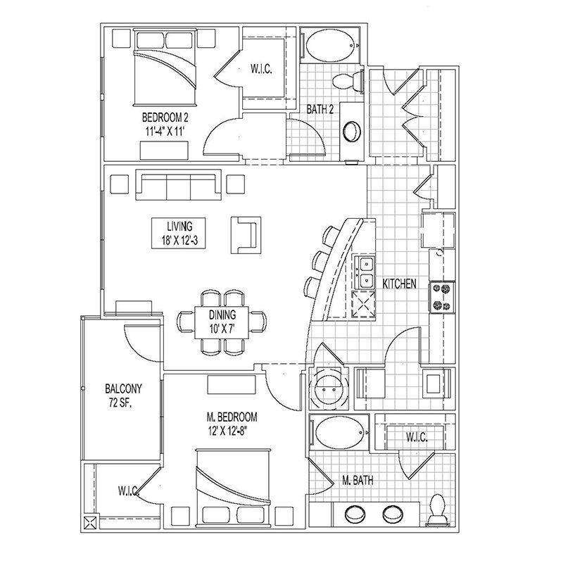 1,176 sq. ft. B5 floor plan