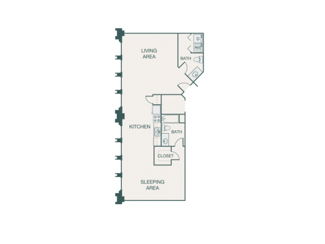 954 sq. ft. R floor plan