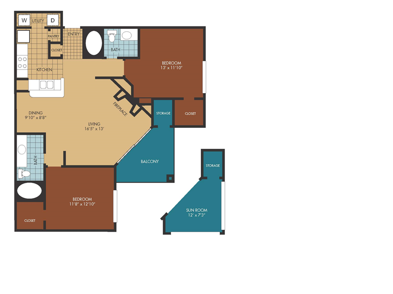 1,177 sq. ft. Oak/SR floor plan