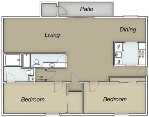 988 sq. ft. C/Bahamas floor plan
