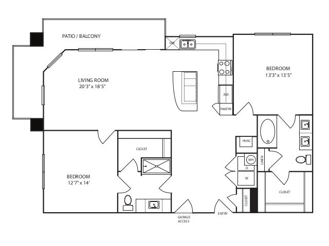 1,292 sq. ft. B3 alt 2 floor plan