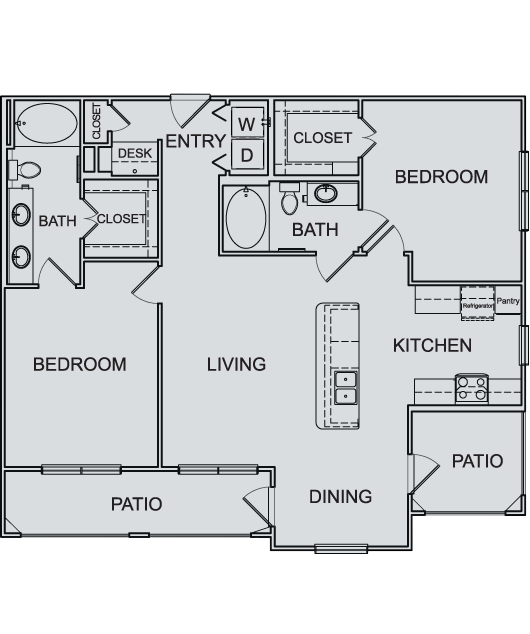 1,153 sq. ft. B2 floor plan