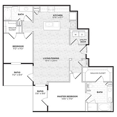 1,206 sq. ft. B3 floor plan