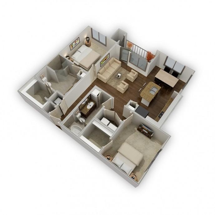 1,186 sq. ft. Preserve floor plan