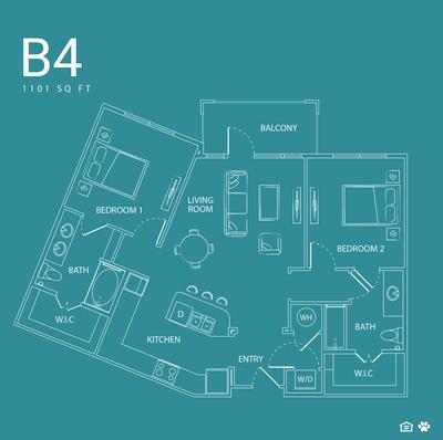 1,101 sq. ft. B4 floor plan