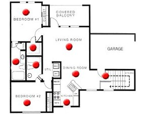 938 sq. ft. A floor plan