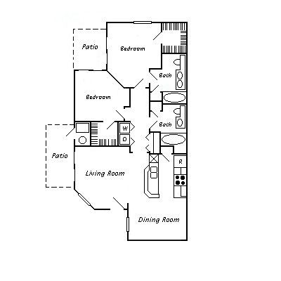 1,046 sq. ft. 60% floor plan
