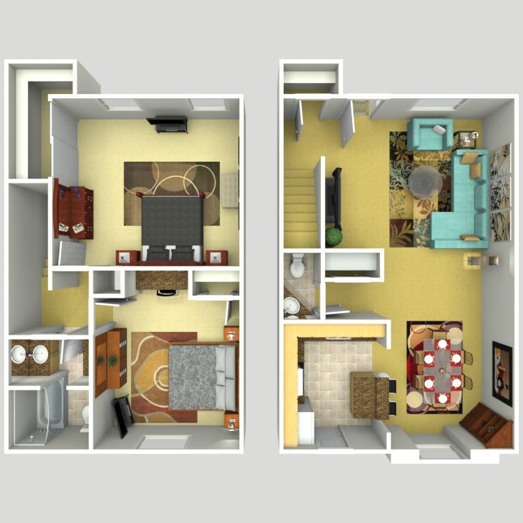 1,231 sq. ft. floor plan