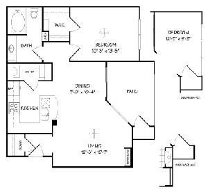732 sq. ft. A1/BELLA VISTA floor plan