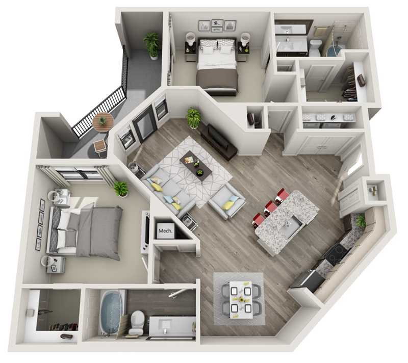 1,138 sq. ft. B2 floor plan