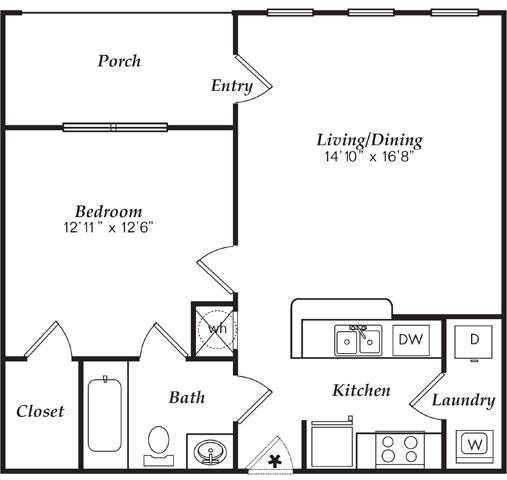 667 sq. ft. A1-D floor plan