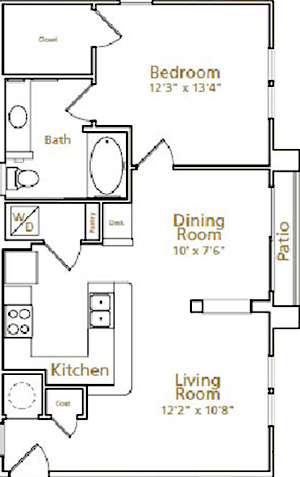 767 sq. ft. A3G floor plan