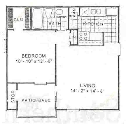 579 sq. ft. Sequoia floor plan
