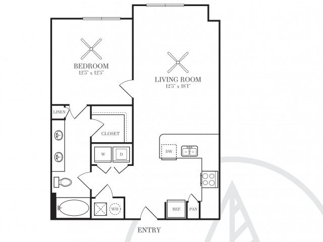 741 sq. ft. A3G floor plan