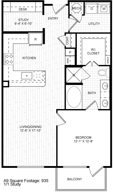 935 sq. ft. A9 floor plan