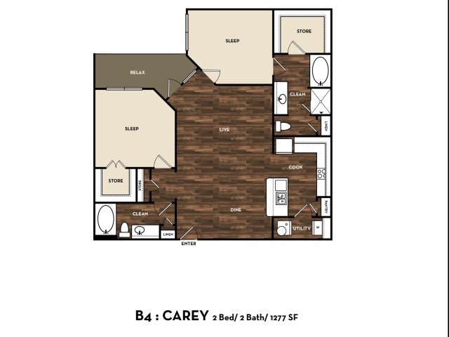 1,277 sq. ft. B4: Carey floor plan
