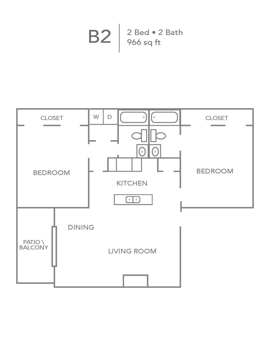 966 sq. ft. B2 floor plan
