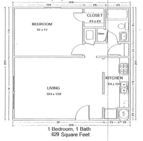 629 sq. ft. 50% floor plan