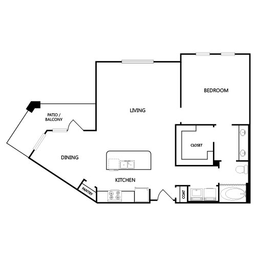 965 sq. ft. A8 floor plan