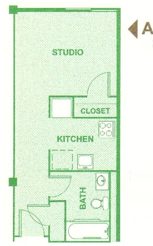 320 sq. ft. A floor plan