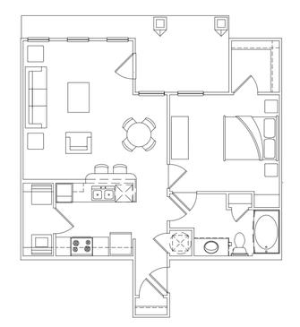 757 sq. ft. A-1 Lower floor plan