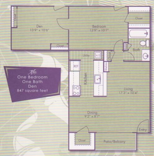 847 sq. ft. Kandinsky floor plan