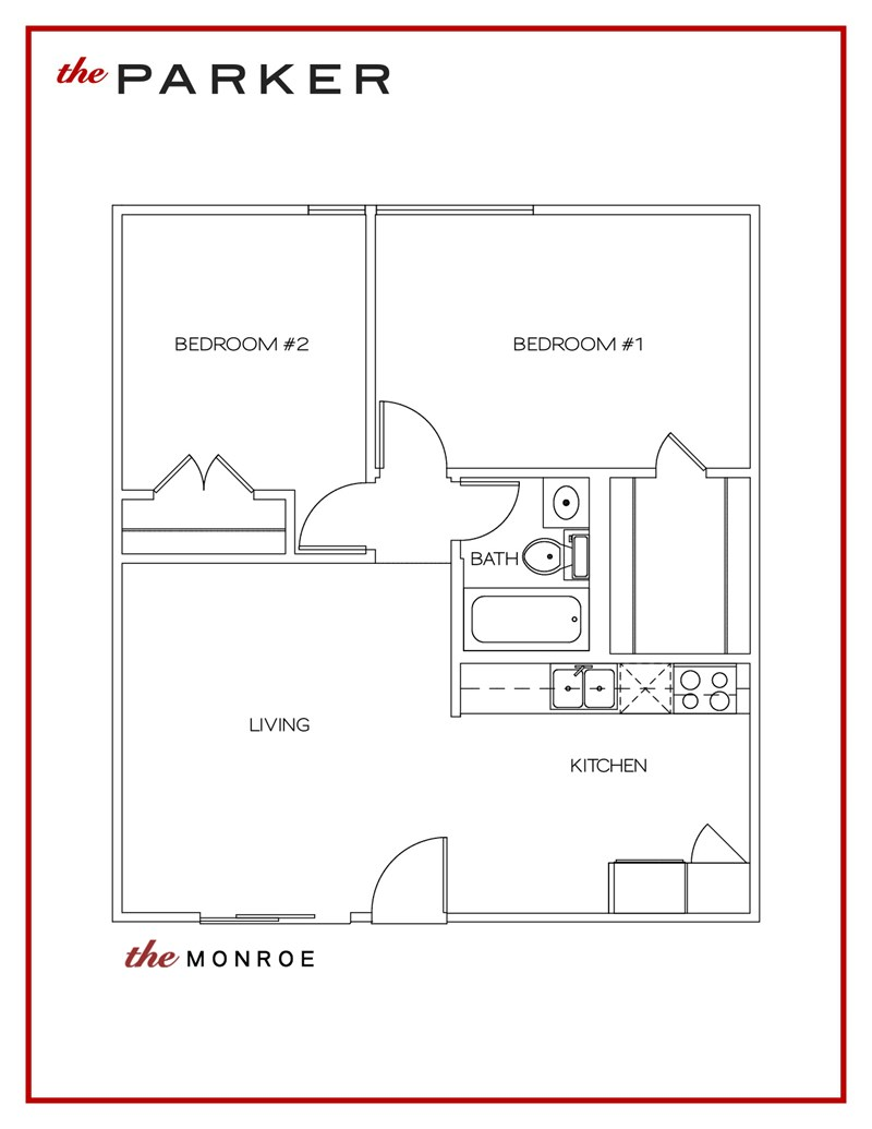 708 sq. ft. Monroe floor plan