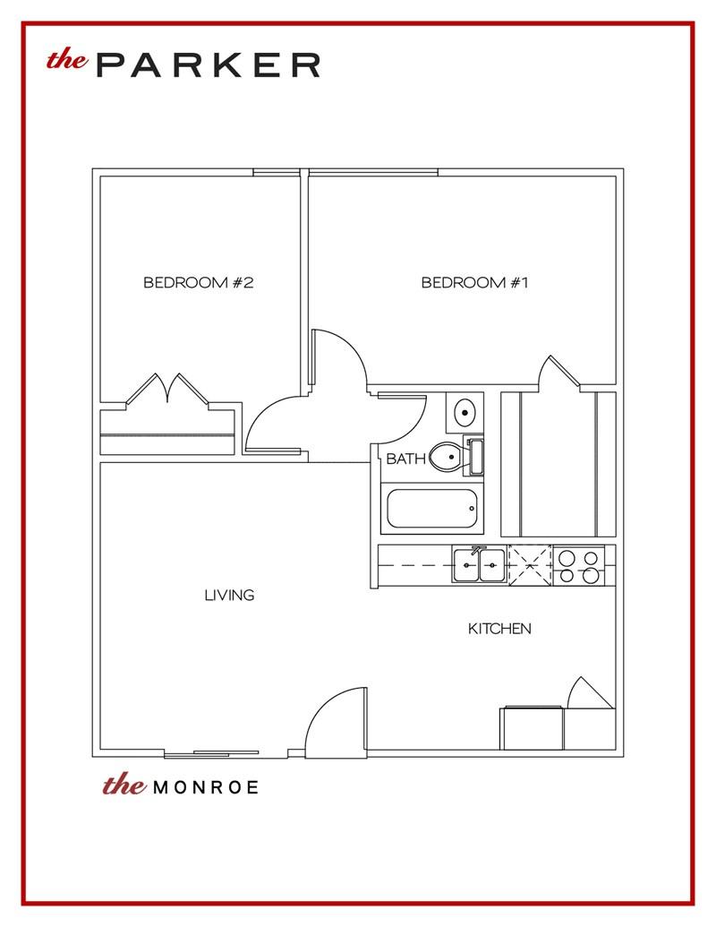 708 sq. ft. Monroe floor plan