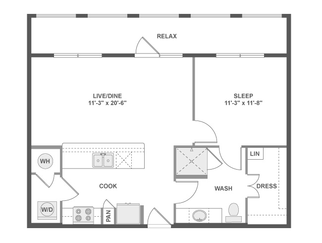 731 sq. ft. A3a floor plan
