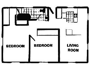 981 sq. ft. floor plan