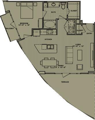 889 sq. ft. A6 floor plan