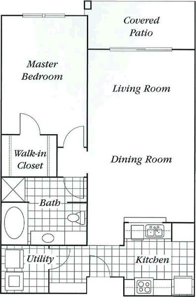 883 sq. ft. 50% floor plan