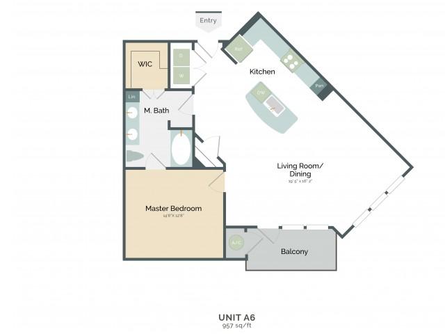 957 sq. ft. A6 floor plan