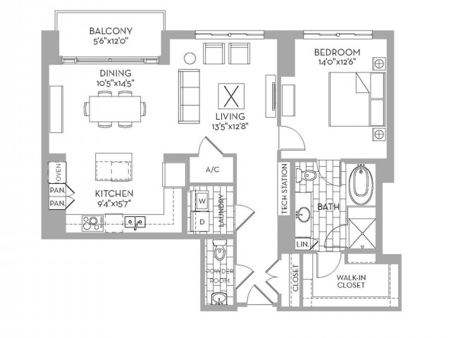 1,156 sq. ft. Preston(A.2) floor plan