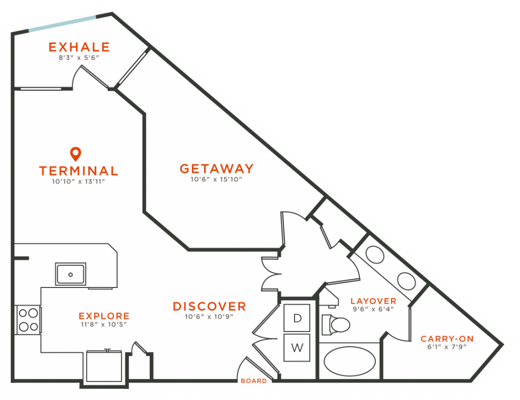 773 sq. ft. A7 floor plan