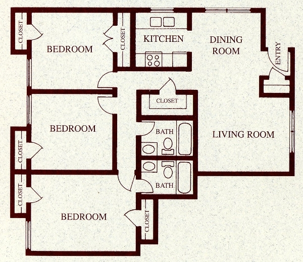 1,105 sq. ft. C floor plan