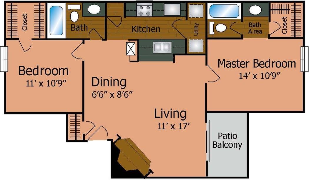 905 sq. ft. B1/Regency floor plan