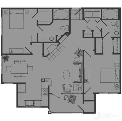 1,092 sq. ft. E floor plan