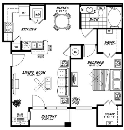 756 sq. ft. A4A floor plan