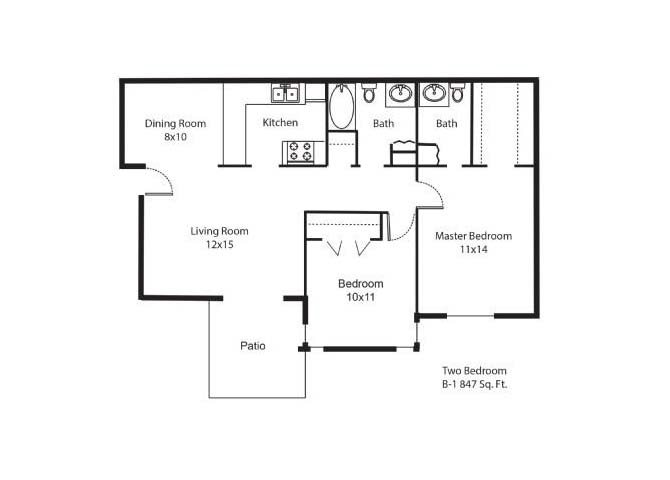 847 sq. ft. B1 floor plan