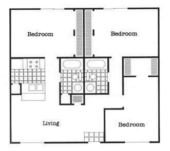 1,040 sq. ft. C1/60 floor plan